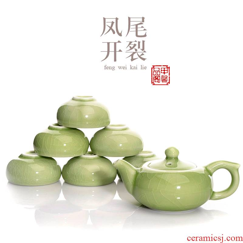 JiaXin kung fu tea set celadon name plum green cracking can keep open piece of ice to crack ceramic tea set