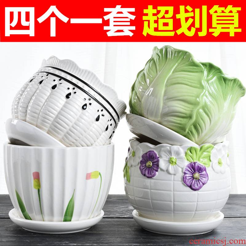 Heavy flowerpot ceramic large special offer a clearance package mail with tray was creative contracted more than other move flower pot in meat