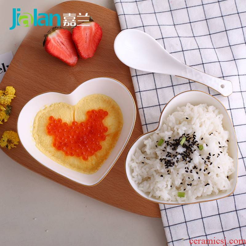 Garland ipads bowls creative embossed heart express baby steamed egg salad bowl of rice noodles in soup bowl household ceramic bowl