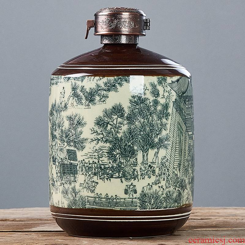 Jingdezhen ceramic bottle 1 catty 3 jins empty wine bottle decoration creative furnishing articles 5 jins of liquor household small jars