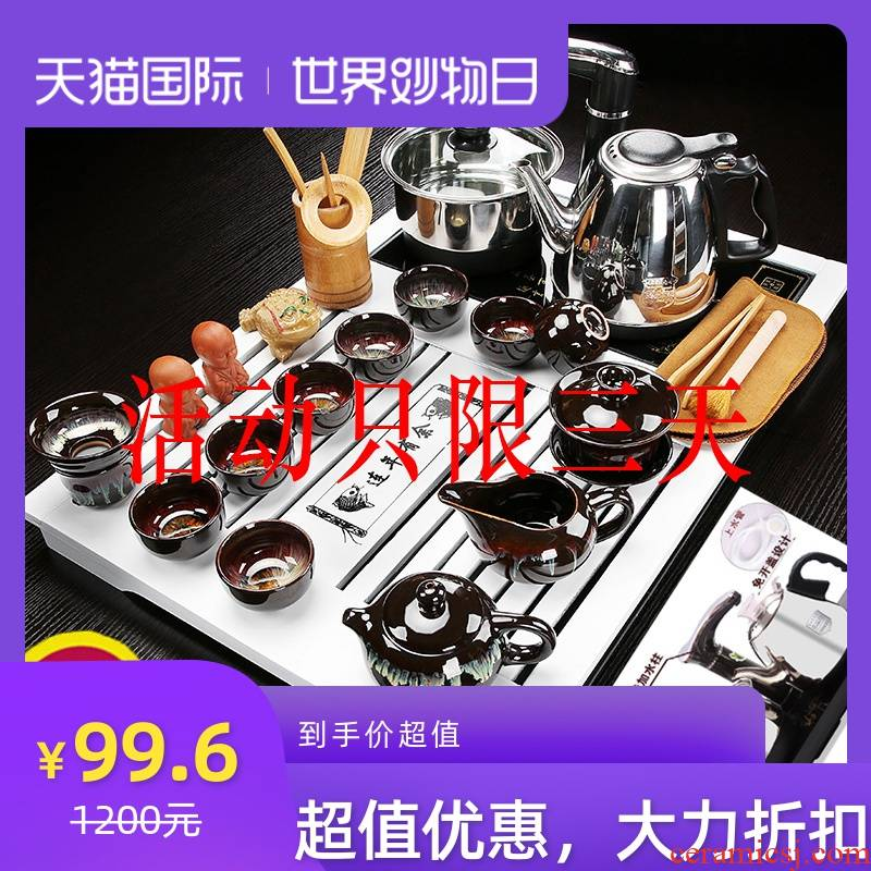 Violet arenaceous kung fu tea set suits for domestic small set of ceramic cups contracted tea tray automatic integrated tea combination