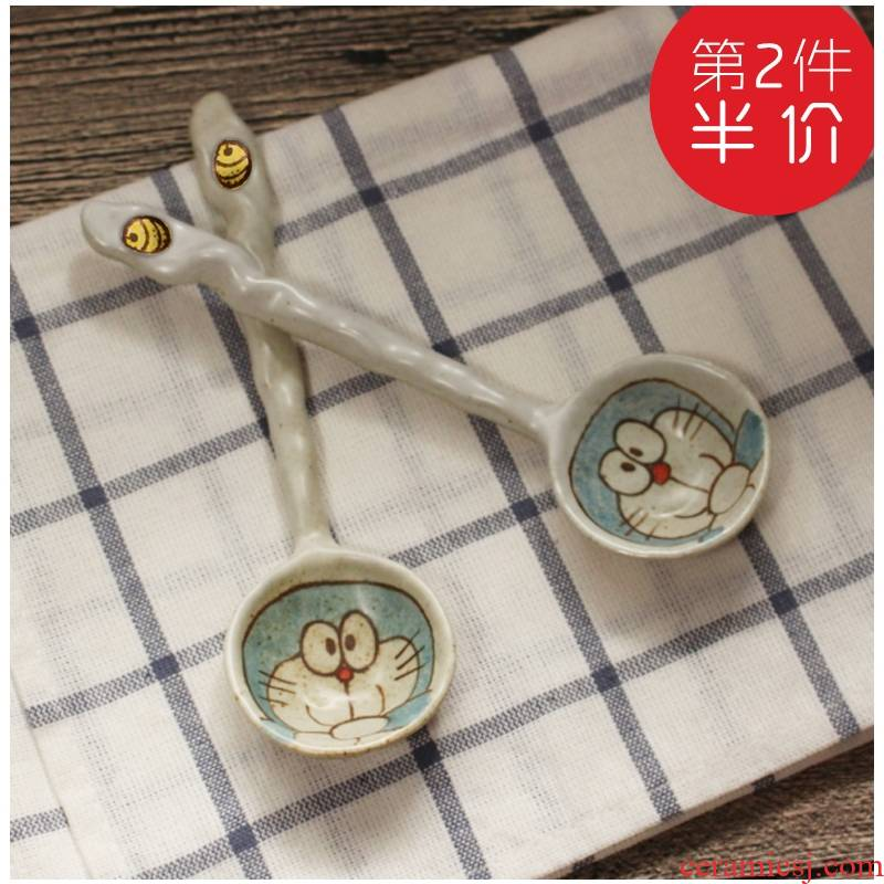 Implicit artisan Japanese - style tableware ceramic spoon ladle soup spoon ladle long handle porcelain run under glaze color
