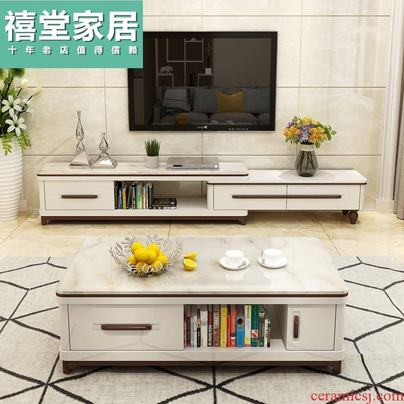 TV ark, combination of the sitting room is contracted and I tea table small family toughened glass marble of the lacquer that bake expansion tank platform