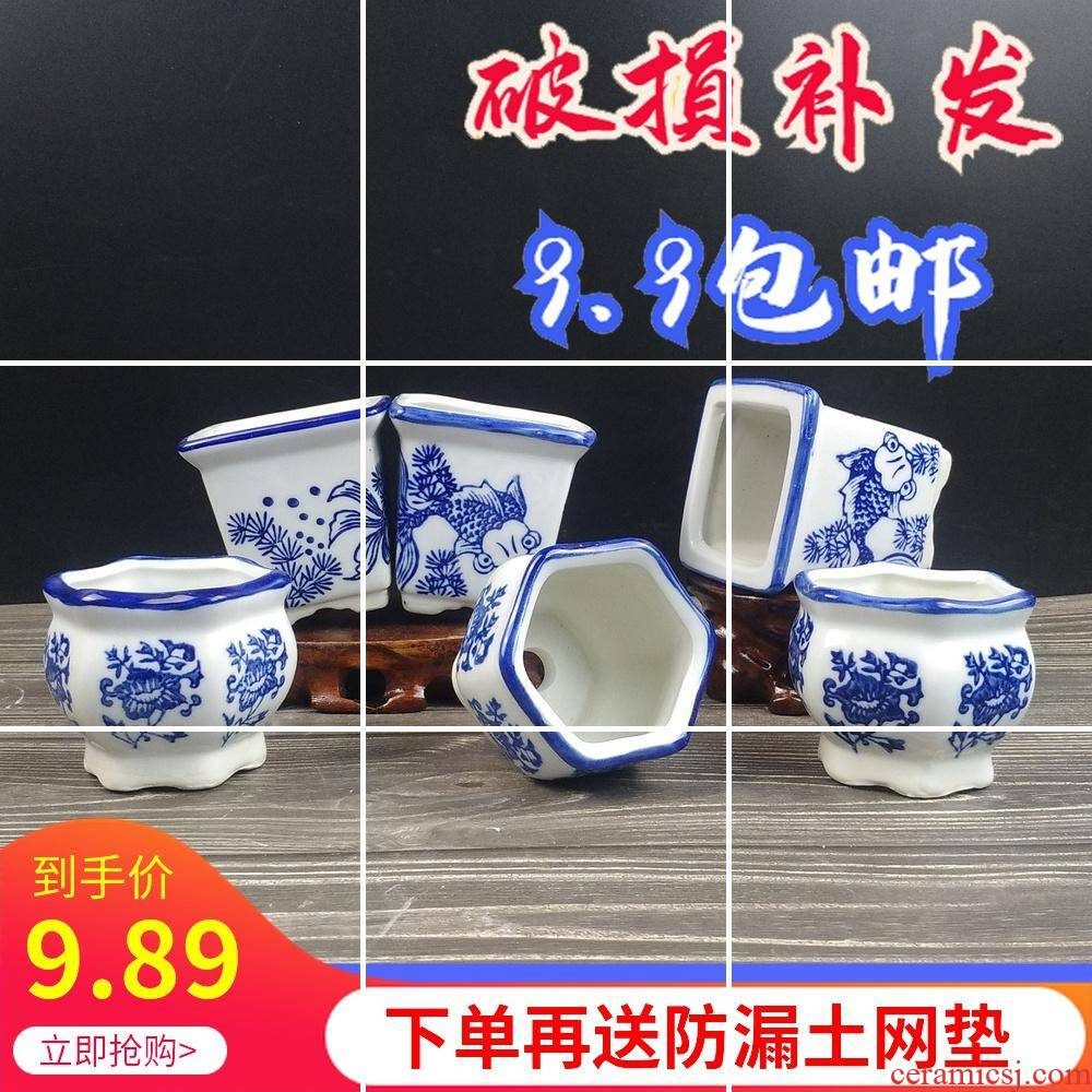 Fleshy flower pot in the desktop contracted potted Chinese wind little sitting room interior other meat meat the plants of blue and white porcelain ceramics