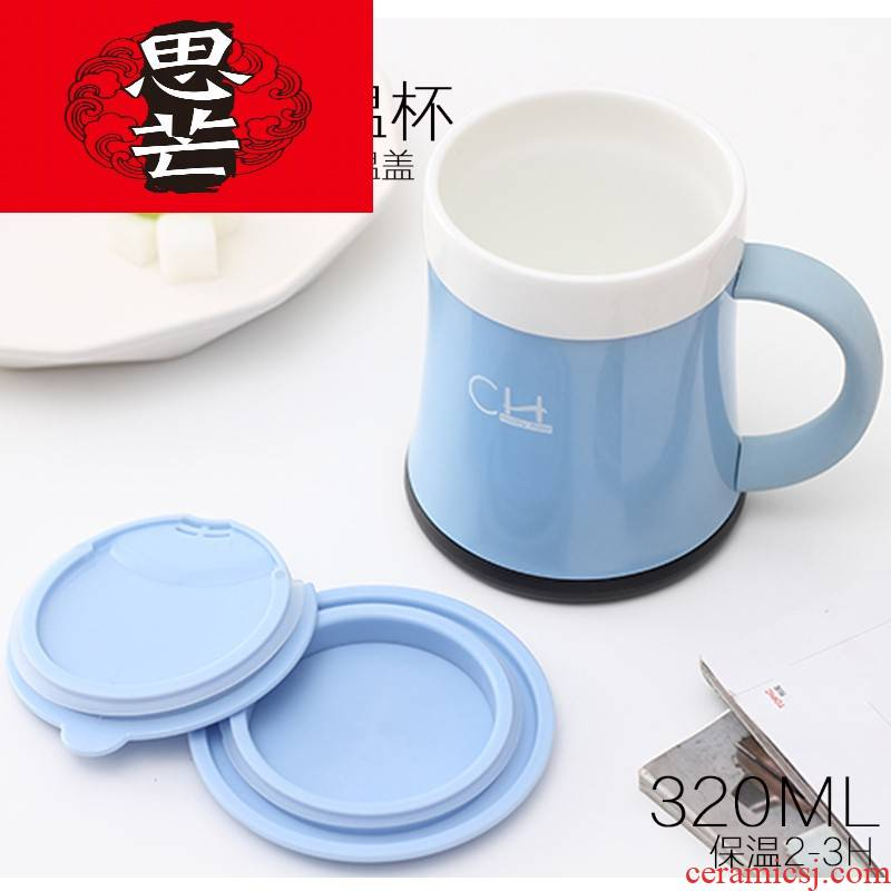 Thinking mans office men and women fashion household ceramic tank vacuum cup with cover with the filter business cup children 's health