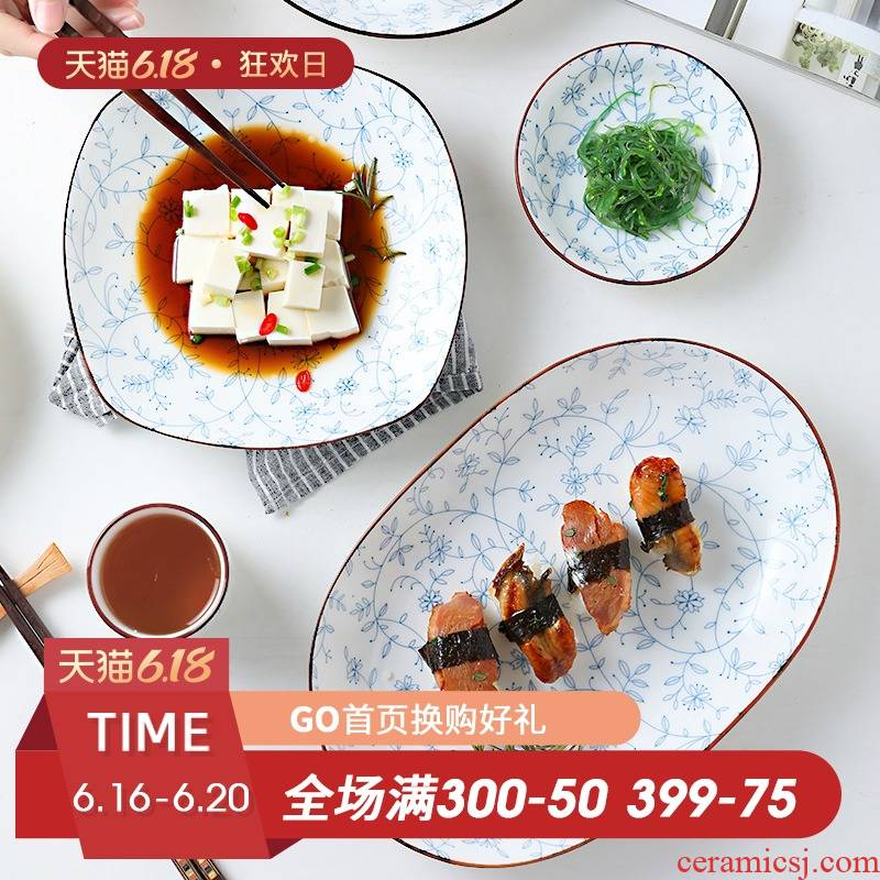 Fiji trent Japanese dishes suit household tableware ceramic bowl salad rice veil red creative move big bowl