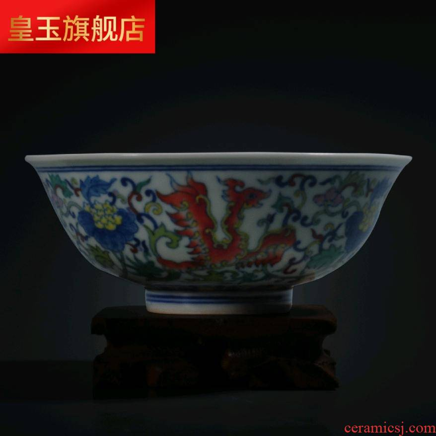 5 ZCT colorful bowl of soup bowl bowl jingdezhen checking antique hand - made process household ceramics tableware arts and crafts
