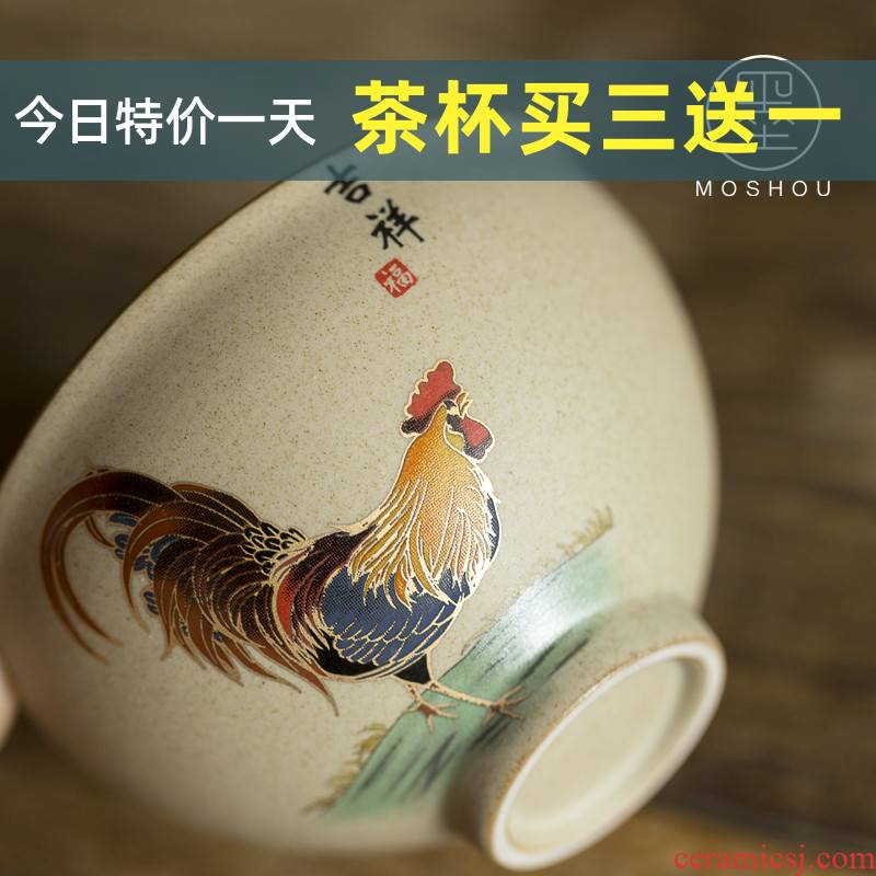 By coarse pottery cup chicken cylinder da Ming chenghua choi antique Japanese fights a single large master cup sample tea cup