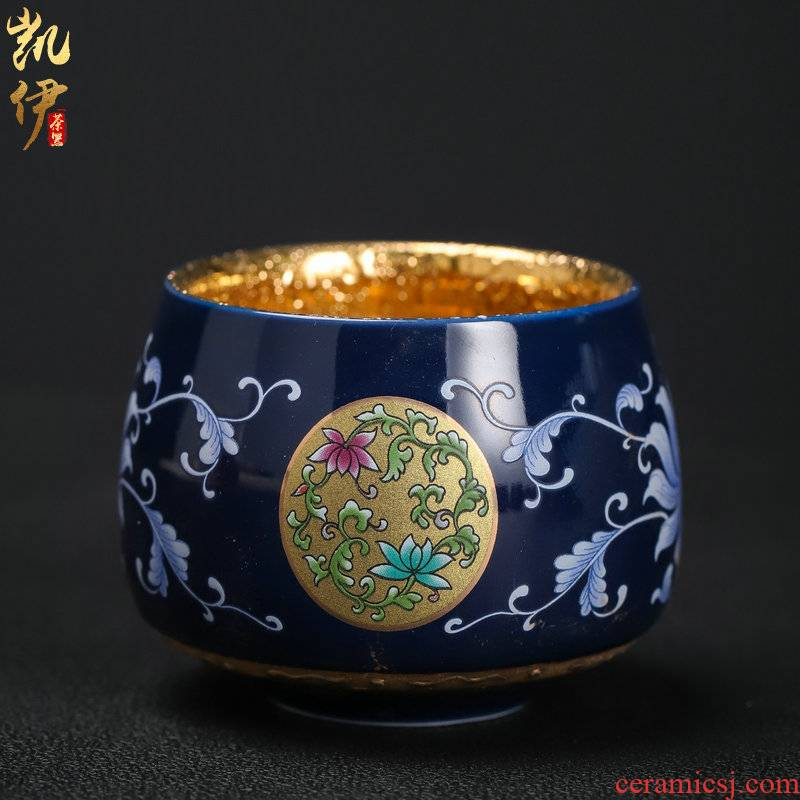Colored enamel gold cup creative ceramic sample tea cup master cup single CPU kung fu tea tea bowl, gift boxes