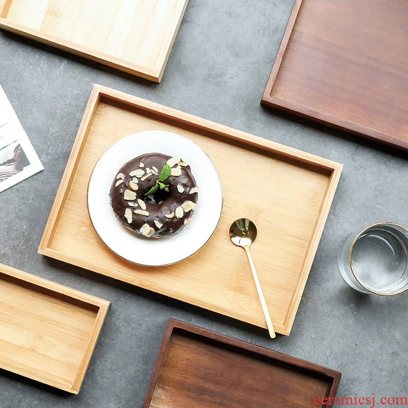 Tray tea Tray household wooden Tray to as rectangular thin plate wood, bamboo tea day pattern sitting room wood