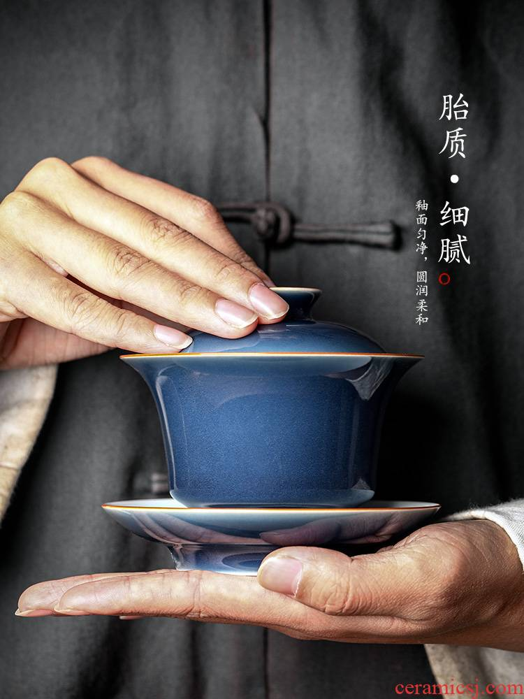Jingdezhen tea machine only three tureen tea tea ji the qing hot kunfu tea hand grasp individual contracted cups of tea set