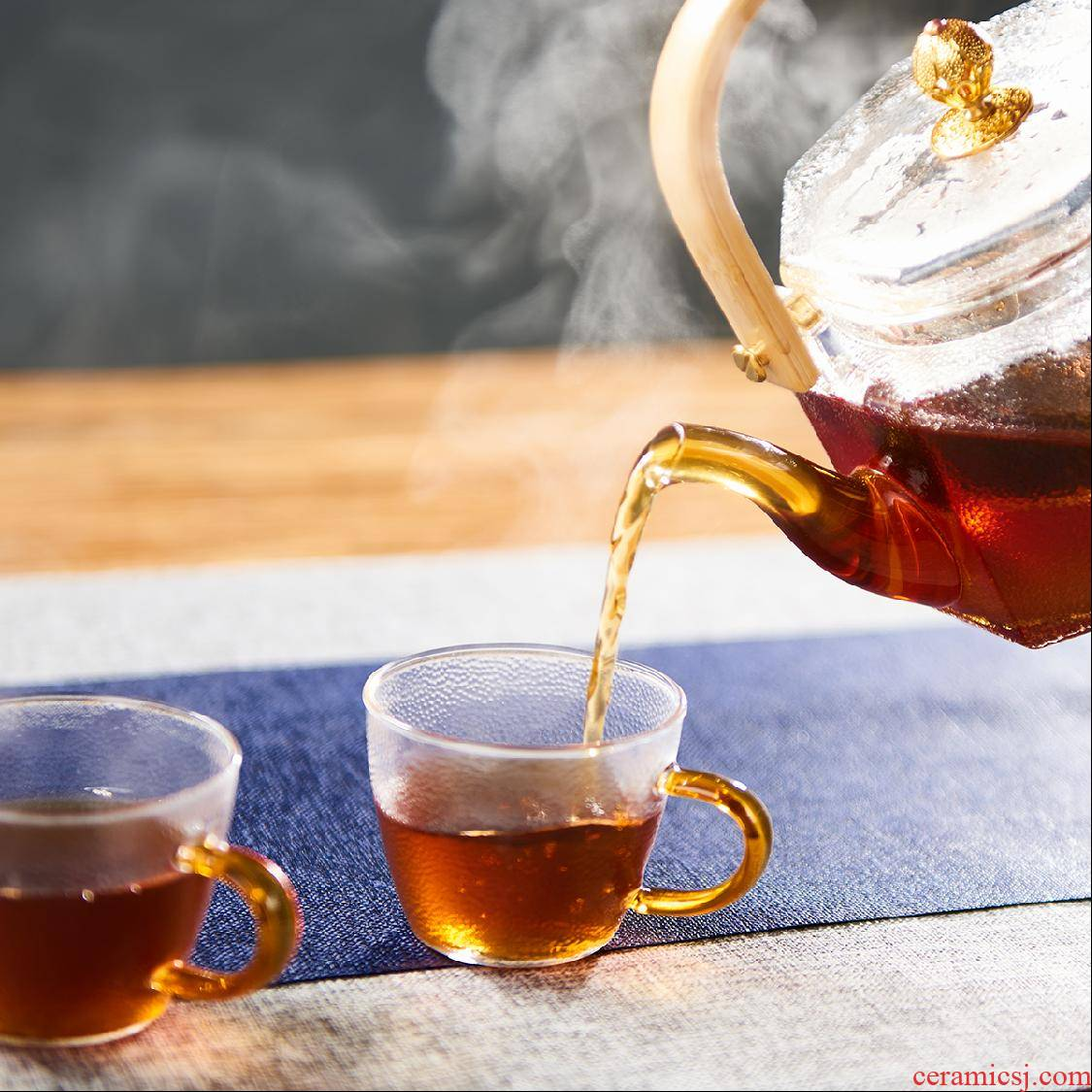 T hammer Japanese hand kung fu small glass cup cup sample tea cup heat - resistant masters cup with the single CPU
