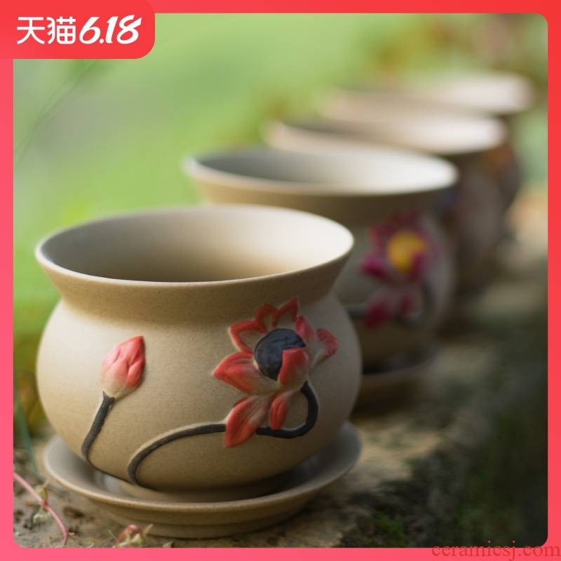 Biscuit firing coarse pottery flowerpot creative Chinese wind restoring ancient ways is contracted, fleshy checking ceramic breathable classical combination flowerpot