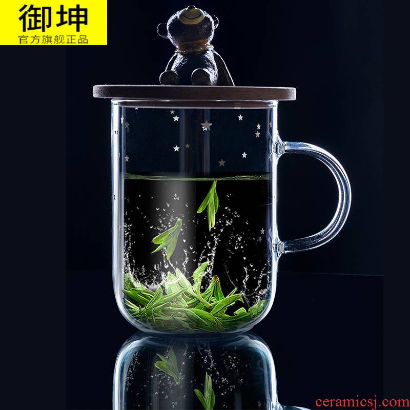 Watch people high borosilicate glass water glass tea cup female students creative cartoon lovers cup contracted the ironing