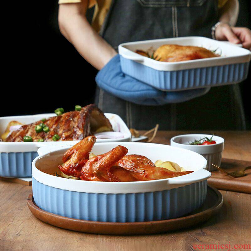 Rice ceramic household ears microwave oven baked cheese bowl and northern Europe to as thin baked baked plate special dish