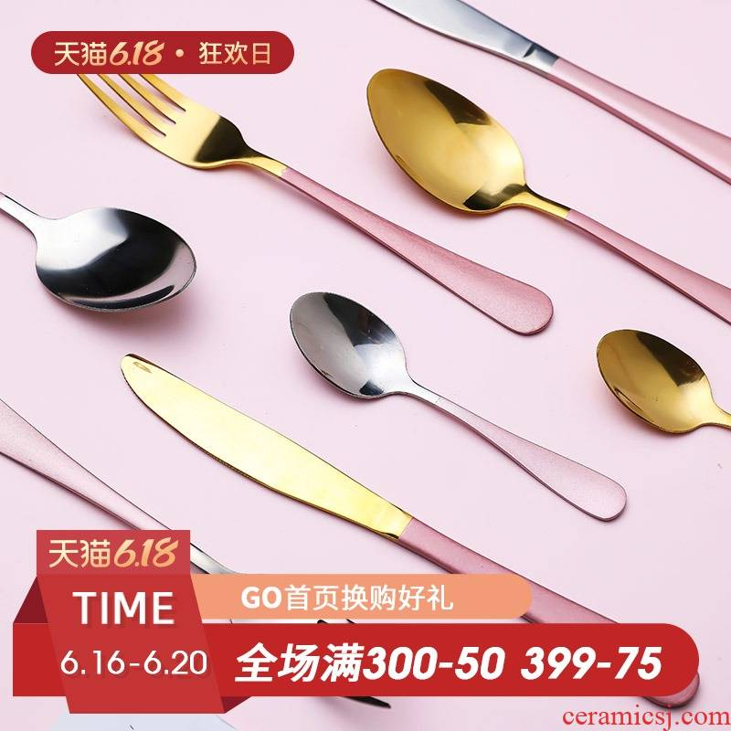 Fiji trent home top grade 304 stainless steel steak knife and fork spoon, western tableware suit dessert spoon, fruit fork