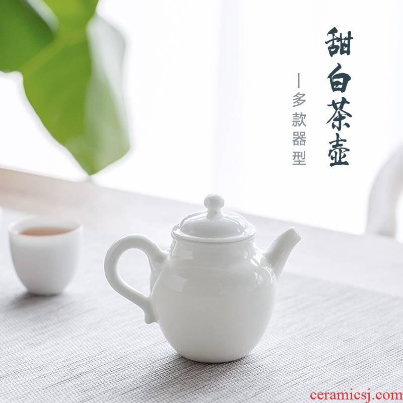 The Escape this hall jingdezhen ceramic teapot single pot of household suit small manual white porcelain teapot kung fu tea set