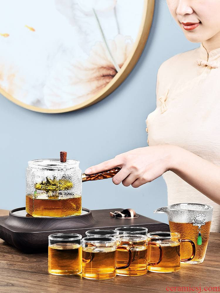 It still fang boiled tea ware teapot heat - resistant transparent glass side of kung fu tea set as the electricity TaoLu home outfit