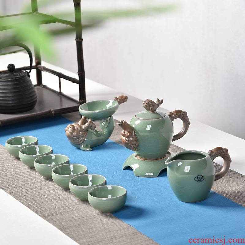Into this creative celadon monkey elder brother up with ceramic tea set pot bearing a piece of ice to crack glaze kung fu tea set a complete set of the teapot