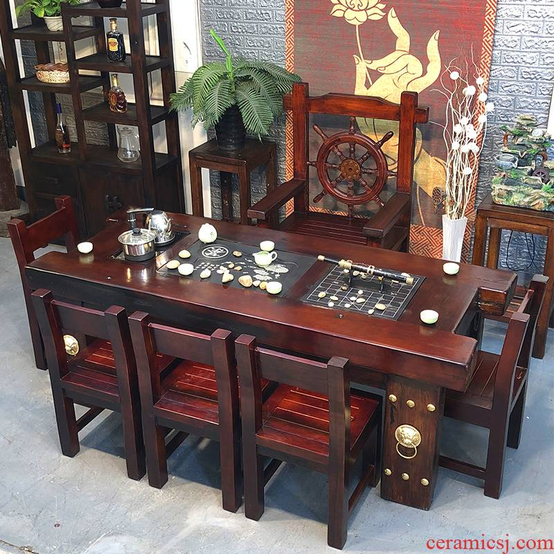 The old ship wood tea table and chair combination of Chinese style tea art all contracted from The solid wood furniture make tea table, tea table table