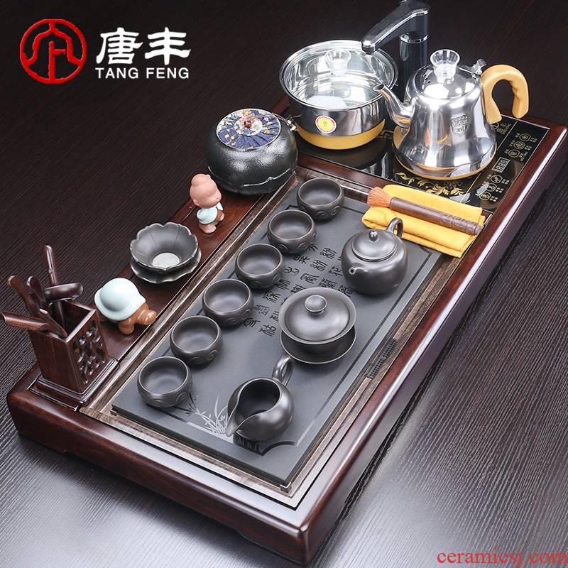 Tang Feng household utensils suit kung fu tea tea tray was sharply stone tea table of a complete set of stone material z automatic electric heating furnace