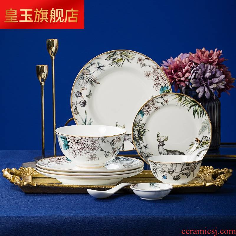 8 PLT jingdezhen ceramic tableware Chinese style luxurious dishes suit household chopsticks to eat bowl bowls plates originality