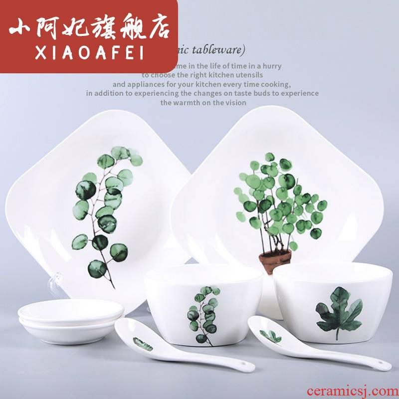 Nordic ceramic tableware, creative green plant plates ceramic bowl combined household bowls plates suit ceramic dish bowl