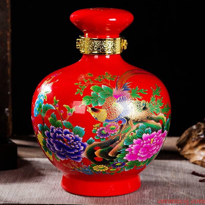 Jingdezhen color bottle 5 jins of the loaded with lock seal peony red mushroom shape thickening the empty wine jars