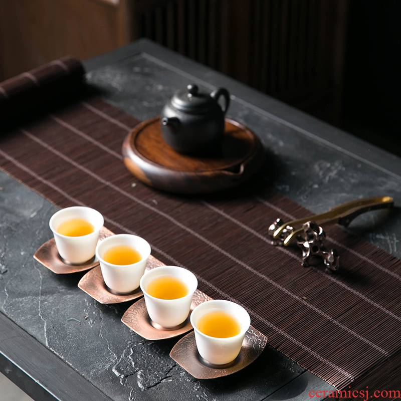 An Abundant Chinese wind Chinese cup mat on the copper alloy tea lotus leaf tea saucer mat cup Japanese kung fu tea accessories