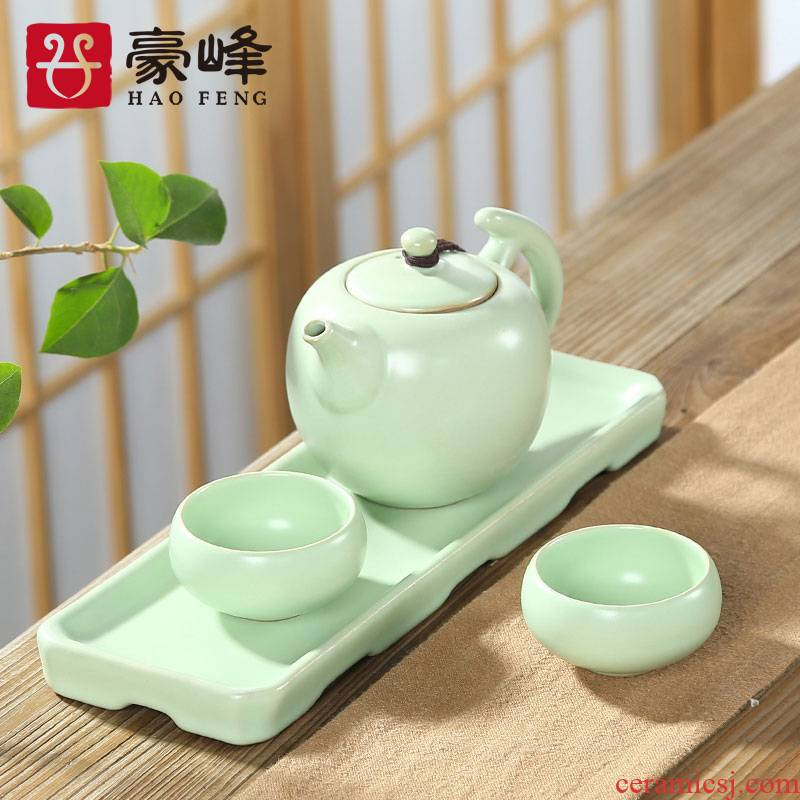 HaoFeng ceramic kung fu tea set of a complete set of is suing portable travel office Japanese household contracted dry tea tray