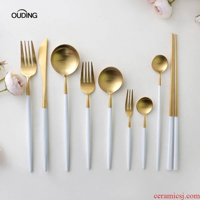 OUDING concise platinum knife and fork stainless steel knife and fork western - style food tableware forks long - handled spoons steak knife and fork spoon