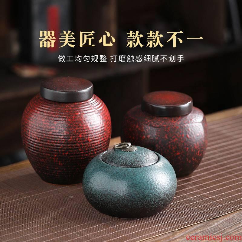 Elder brother up with sealing ceramic tea caddy fixings box travel warehouse storage tank pu 'er tea pot receives special tea set is large
