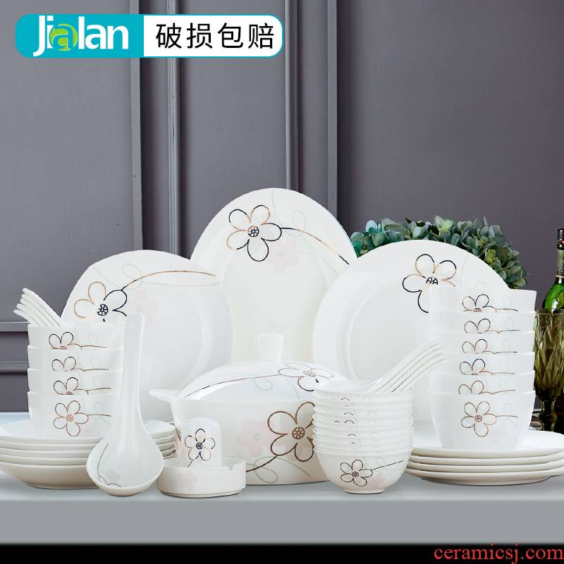 Garland ipads porcelain tableware suite 28\56 square fashion tableware of pottery and porcelain household of Chinese style dishes suit dishes
