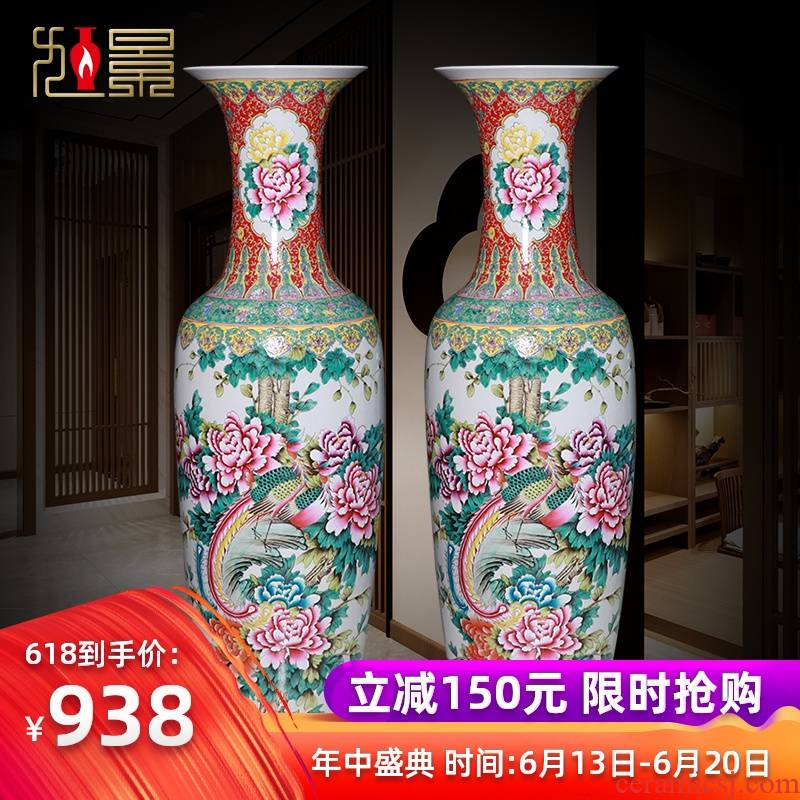 Jingdezhen sitting room be born big famille rose porcelain vase household furnishing articles company hotel opening gifts large extra large