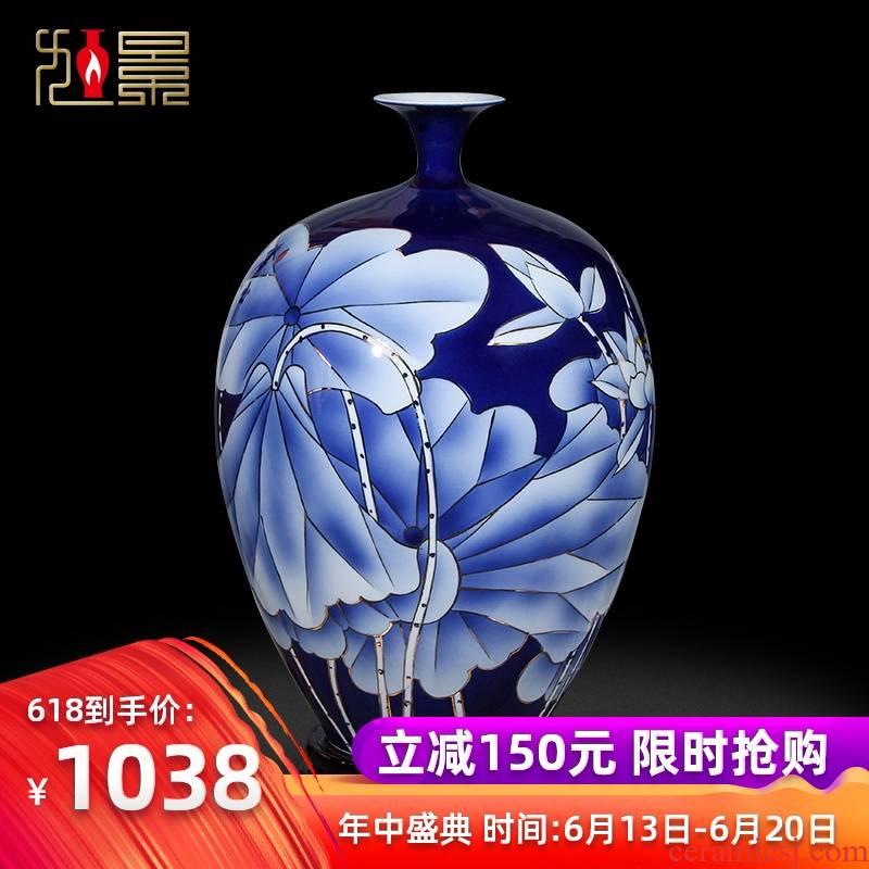 Xu jing paint jingdezhen ceramic vase home sitting room European - style hand - made lotus flower arranging mesa adornment porcelain