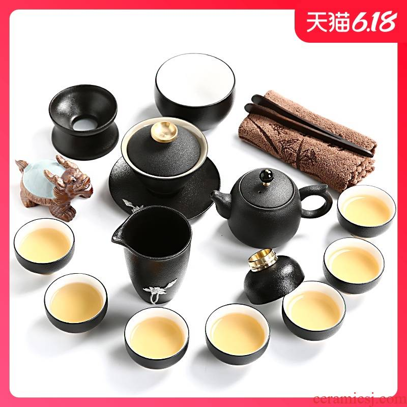 Sand embellish of black tea set contracted kung fu tea set lobo silver ceramic teapot tea cups of a complete set of the sea
