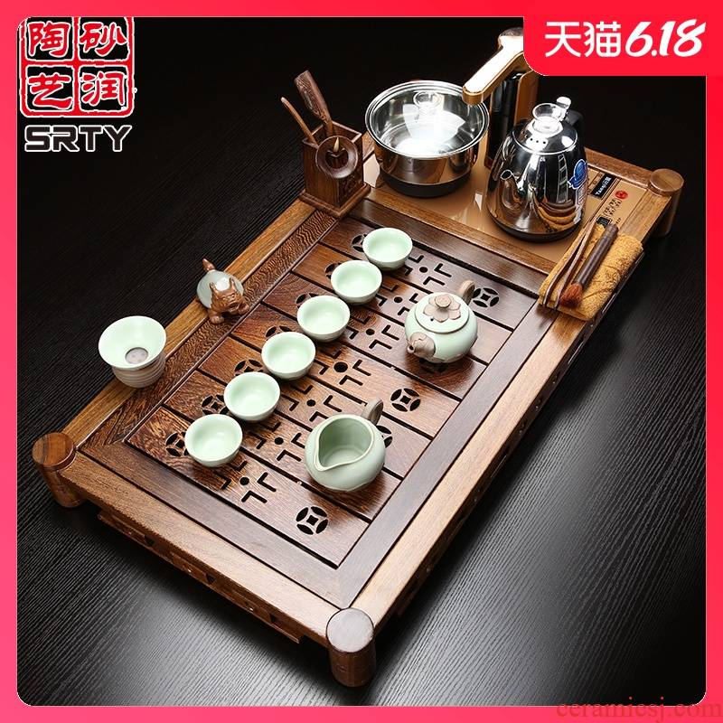 Sand embellish ceramic chicken wings wood tea set household purple high - grade kung fu tea set solid wood tea tray induction cooker