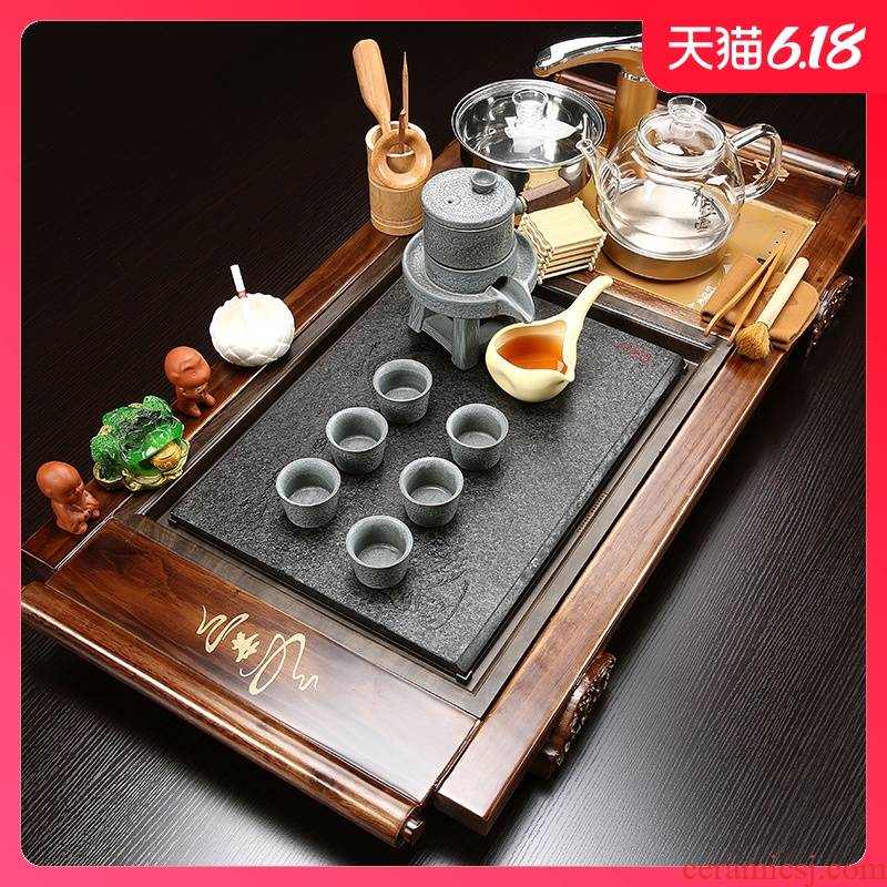 Sand embellish tea set suit household ceramics kung fu tea tea of a complete set of solid wood tea tray tea cups contracted