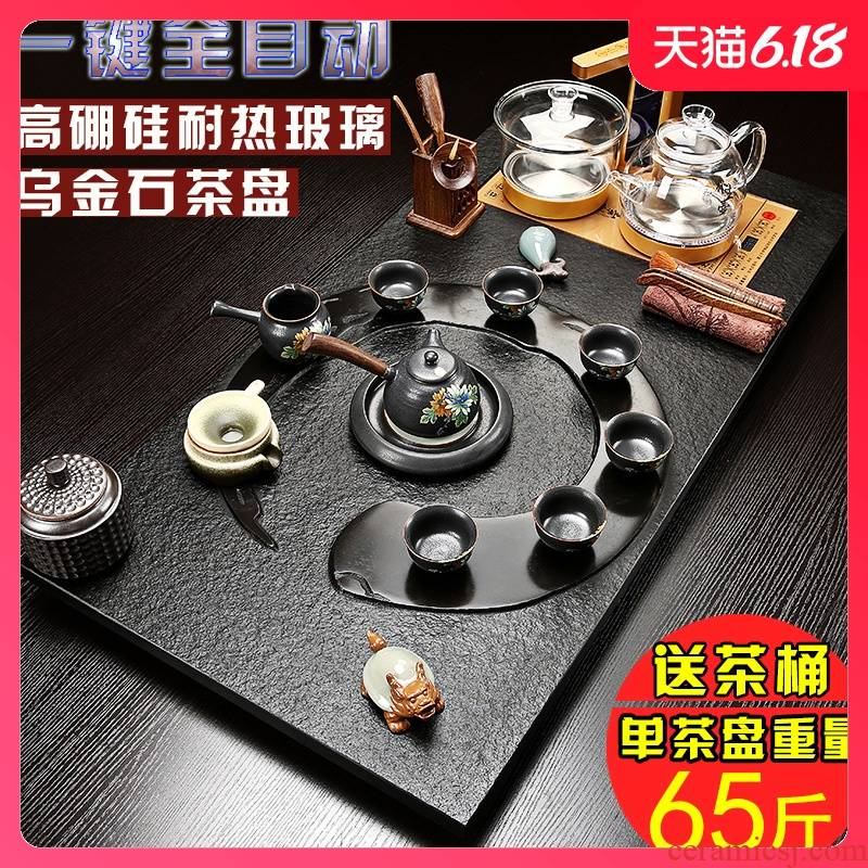 Sand embellish the whole piece of natural stone sharply tea set suits for health tea pot of kung fu tea set large stone tea tray