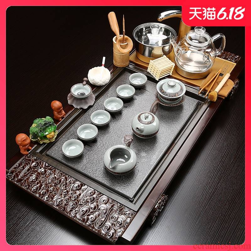 Sand embellish sharply stone of a complete set of tea service suit household kung fu tea with solid wood tea tray glass teapot tea cup