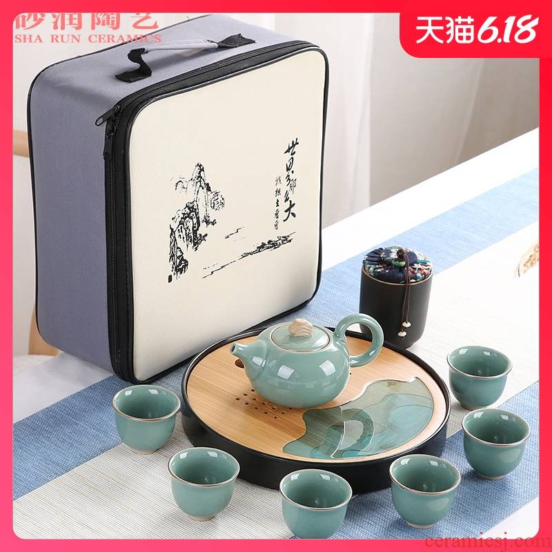 Sand embellish elder brother up with ceramic tea set household contracted Japanese office travel small round tray is suing portable package