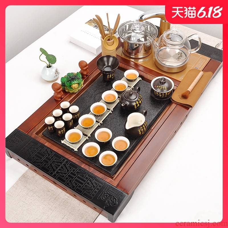 Sand run automatic tea set home health POTS, glass kung fu tea set contracted solid wood tea tray of tea