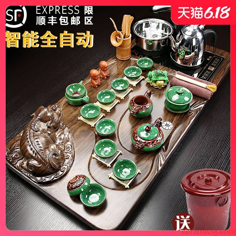 Violet arenaceous kung fu tea set suit household contracted sitting room solid wood tea tray of a complete set of automatic tea sets tea sea