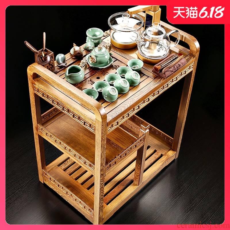 Sand stone embellish sharply wenge mobile car kung fu tea health glass pot of tea tea tray was small tea table tea tank