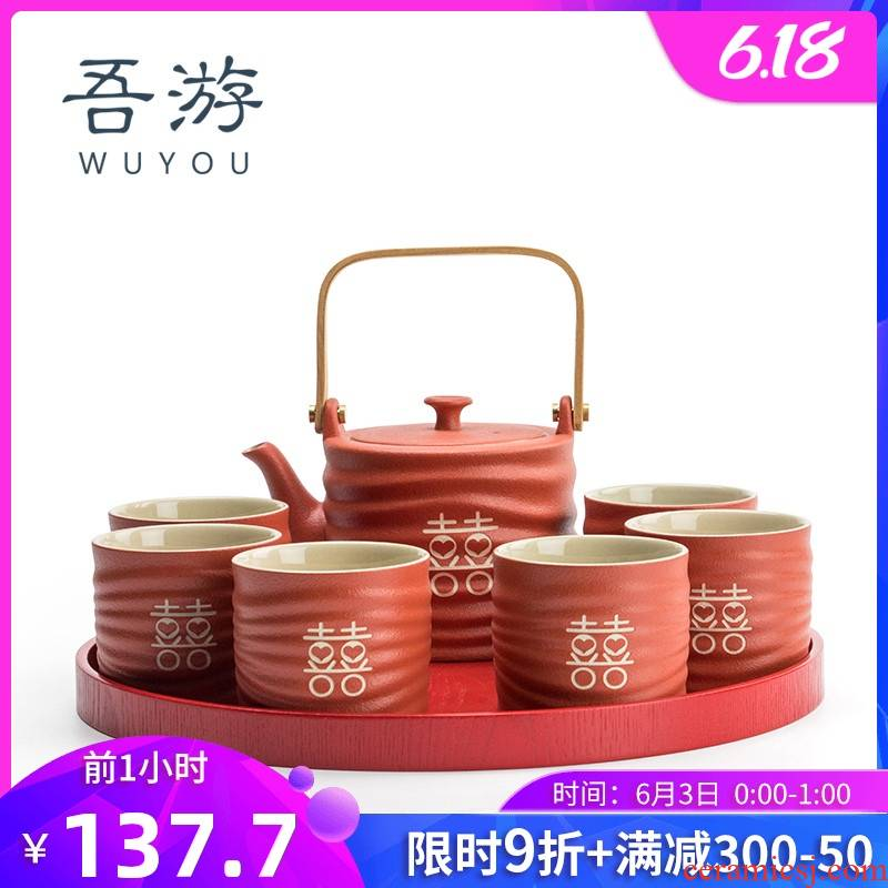 I swim tea set suits for domestic high - grade creative wedding celebration of Chinese New Year holiday gifts cups red set tea service