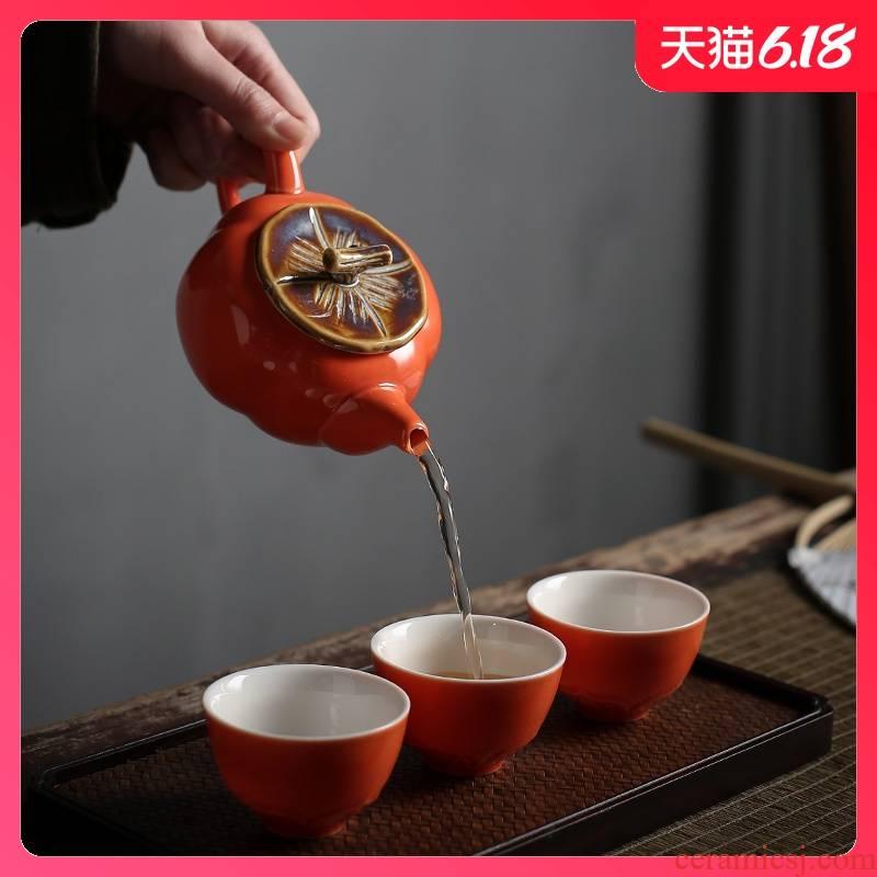 Sand embellish ceramic travel a pot of four cups of kung fu tea set household teapot teacup of a complete set of creative gift set custom