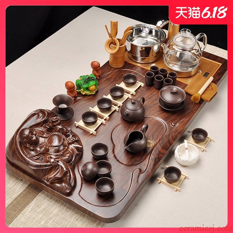 Automatic regimen glass pot of tea set of household solid wood tea tray was violet arenaceous kung fu tea set contracted tea combination