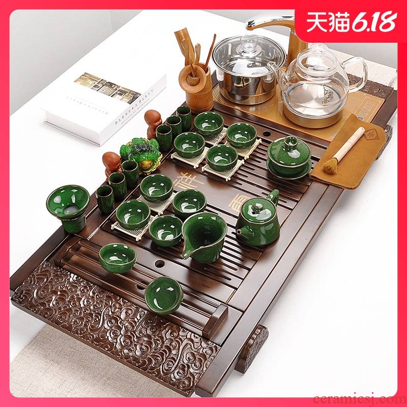 Automatic curing pot of tea set home a whole set of violet arenaceous kung fu tea set contracted solid wood tea tray