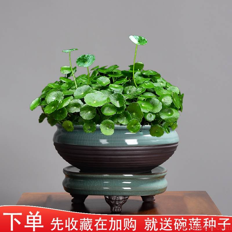 Ceramic bowl lotus copper grass flower POTS individuality creative water lily with no hole, large aquatic the plants in hydroponic refers to flower pot