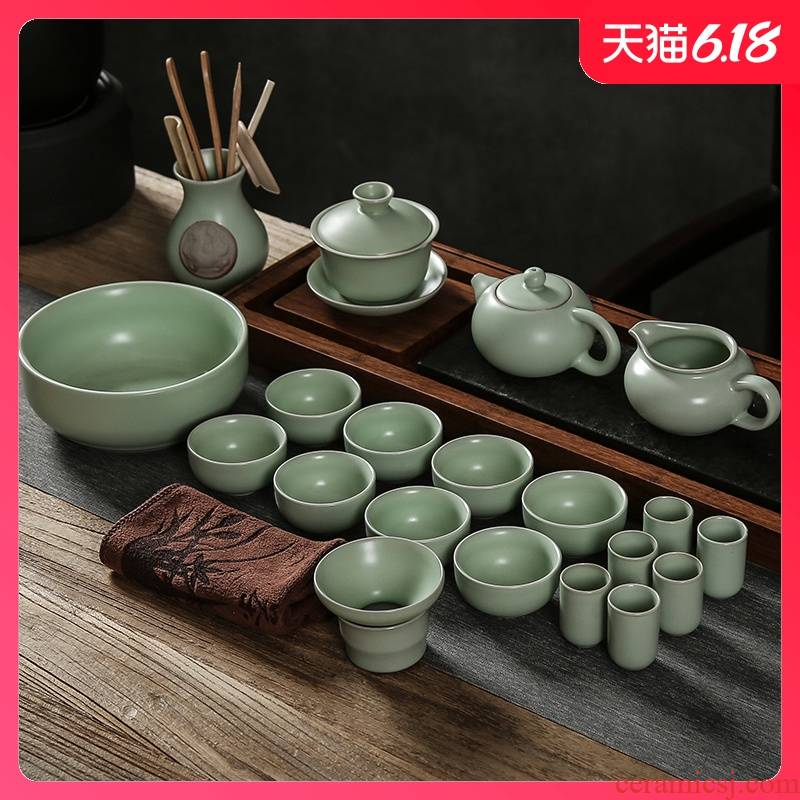 Sand embellish pottery your up kung fu tea sets the whole contracted household gifts ceramic tureen tea cups on the teapot